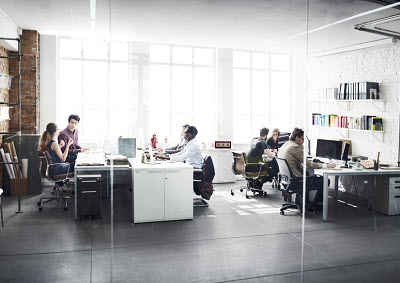 view of business team at work in office